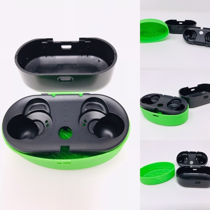Comparing new box shape with old and earbud holder insert adjustments