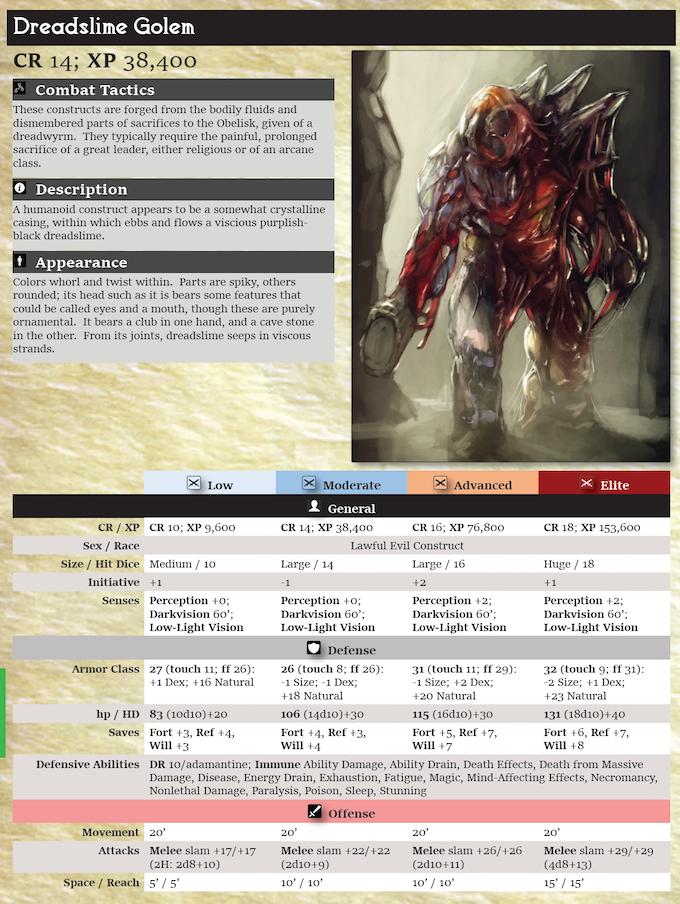 Pathfinder statblock example (Dreadslime Golem, Dark Obelisk 2)