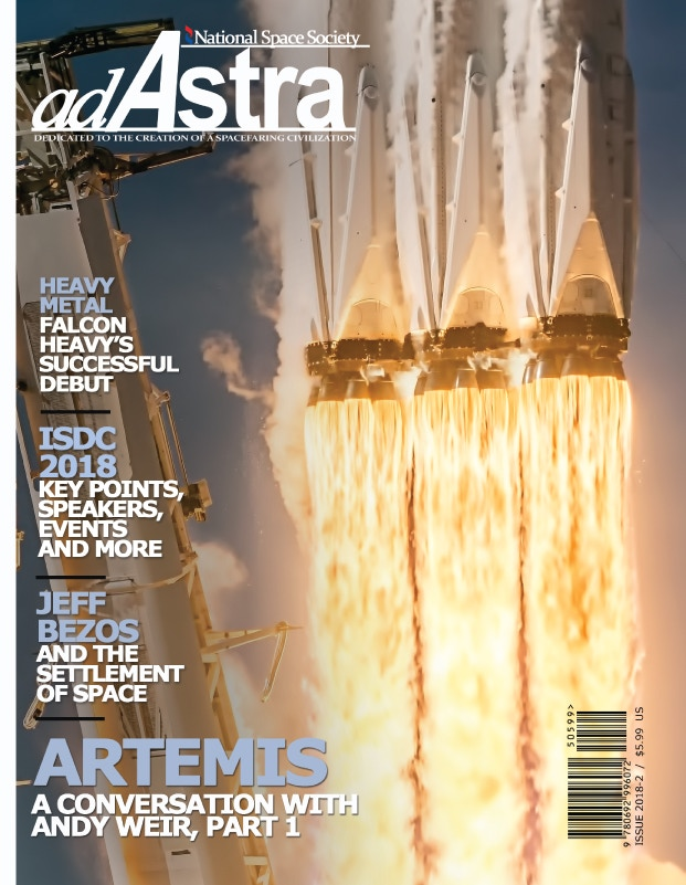 SpaceX Falcon Heavy photograph featured on the cover of Ad Astra magazine