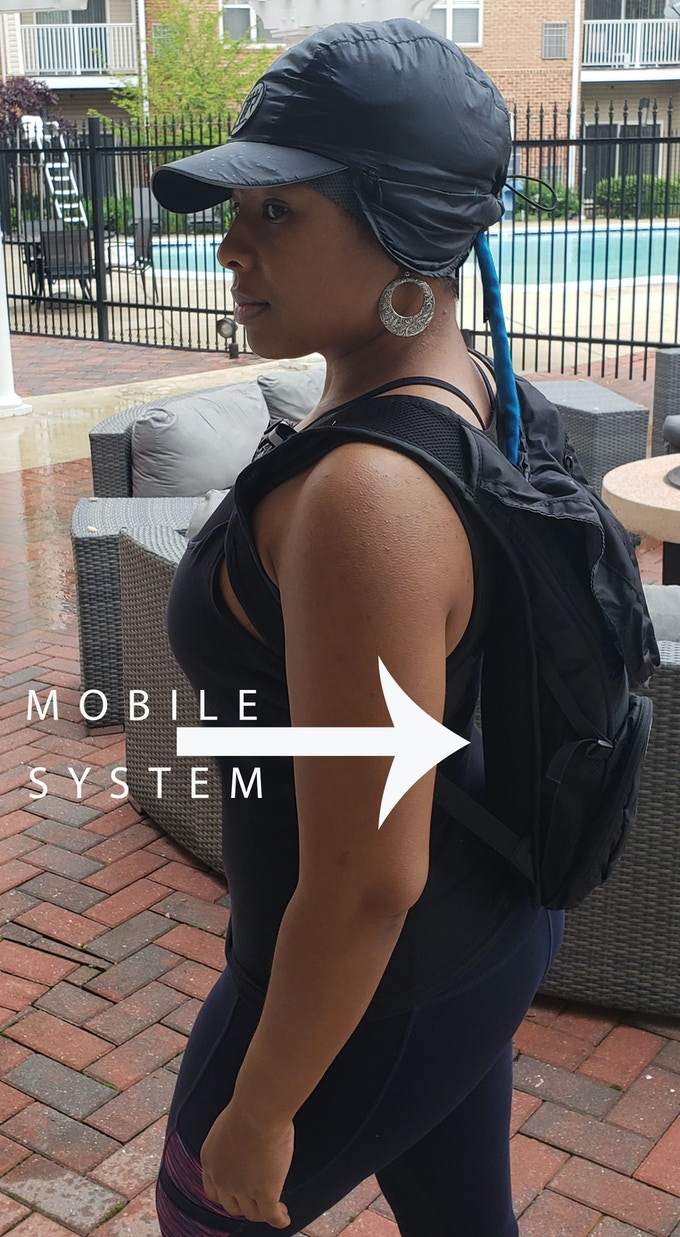 The mobile system - Rechargeable Lithium Ion Battery Operated Hair Cooling and Dehumidification System with Unique Fitness Cap.  Allows the flexibility of working out on the go without sweating out your hair.