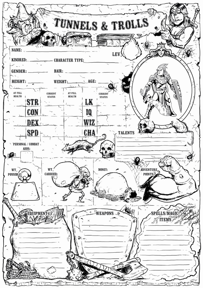 example of character sheet