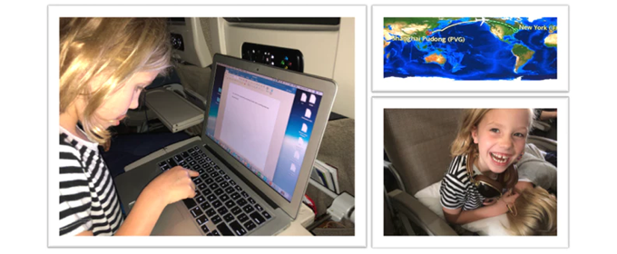 Elle, typing the first draft of Wonderful Earth on the long plane trip back to the United States