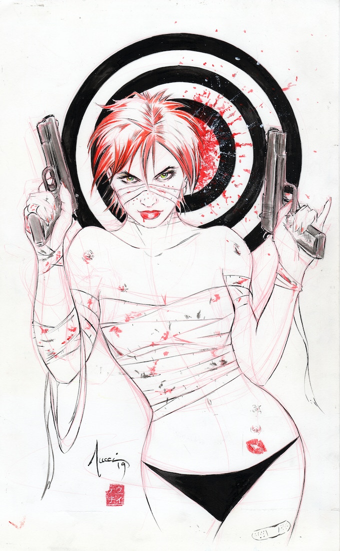 Billy Tucci Painkiller Jane pinup original art tier!
