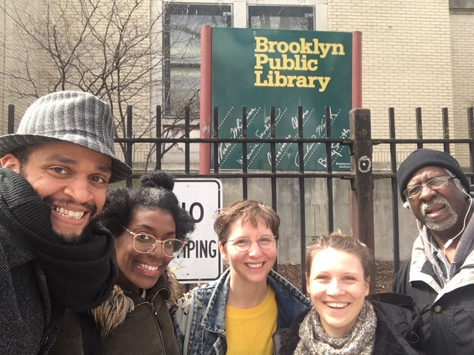 "Ensemble visit at Brooklyn Public Library! From left: Chris White, Jonelle Robinson, Claire Moodey, Eva von Schweinitz, Paul ""P-Funk"" Stallings. Photo: Chris White"