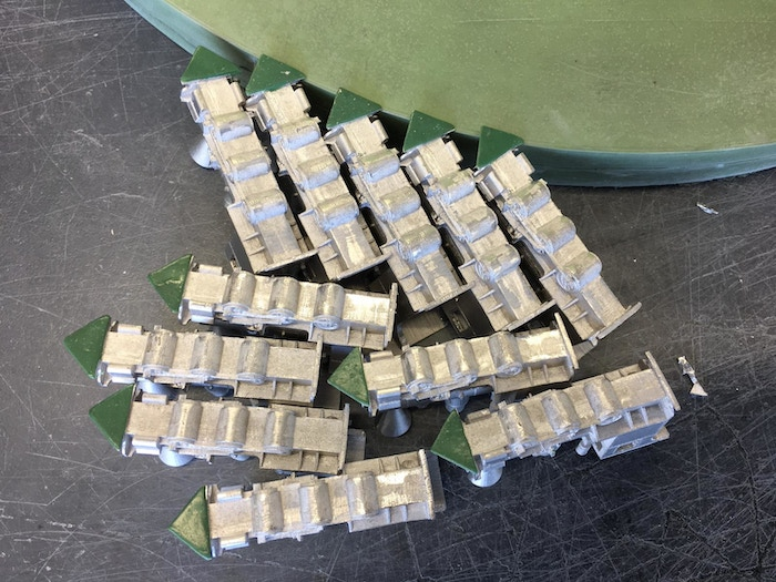 The Tin-Bismuth mother miniatures used to create the production mould