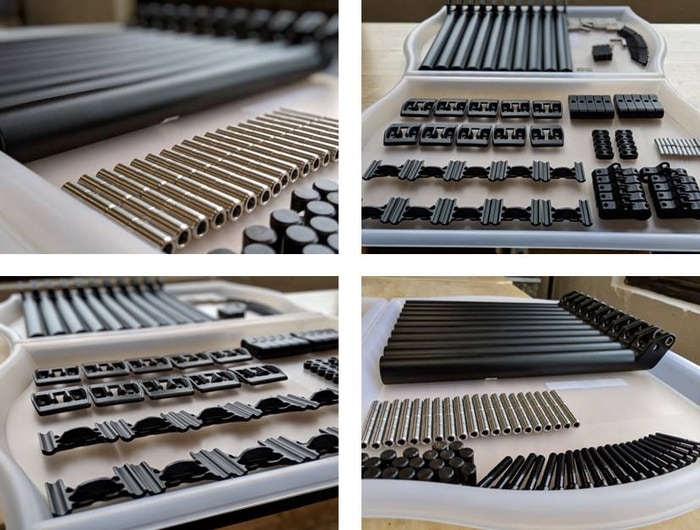 Some of the Production Sample Parts Being Inspected