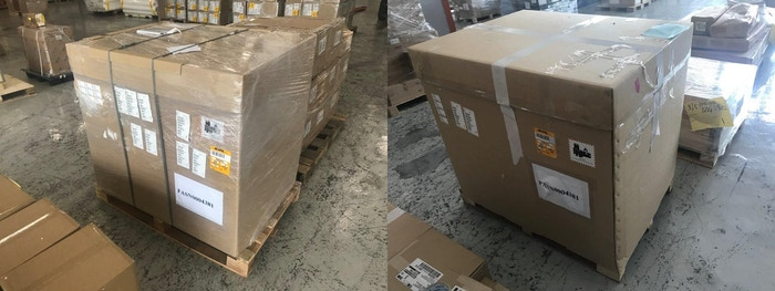 The two pallets of PrintBrush XDR units while in transit in Hong Kong