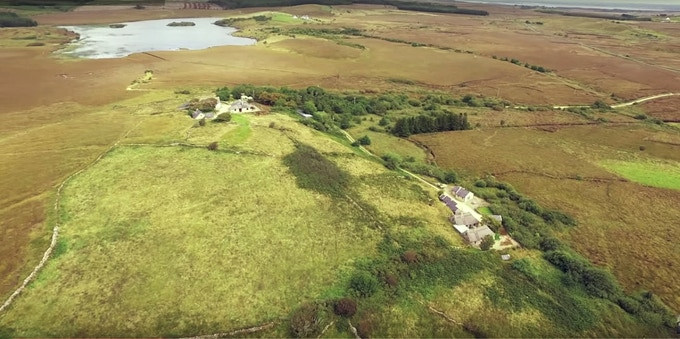 Birdseye view of the Baile Uachtar (Upper village) and Baile Iochtar (Lower village) and the 200 acres of bogland surrounding the hillfarm. With this layout we are in an ideal position to run both residential & day programmes simultaneously. [Image courtesy of the Vagabrothers]
