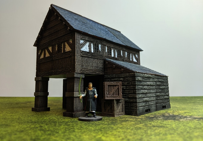 Full sized wooden posts can be used to create overhanging rooms. Stone Stronghold pieces can be added for more customization.