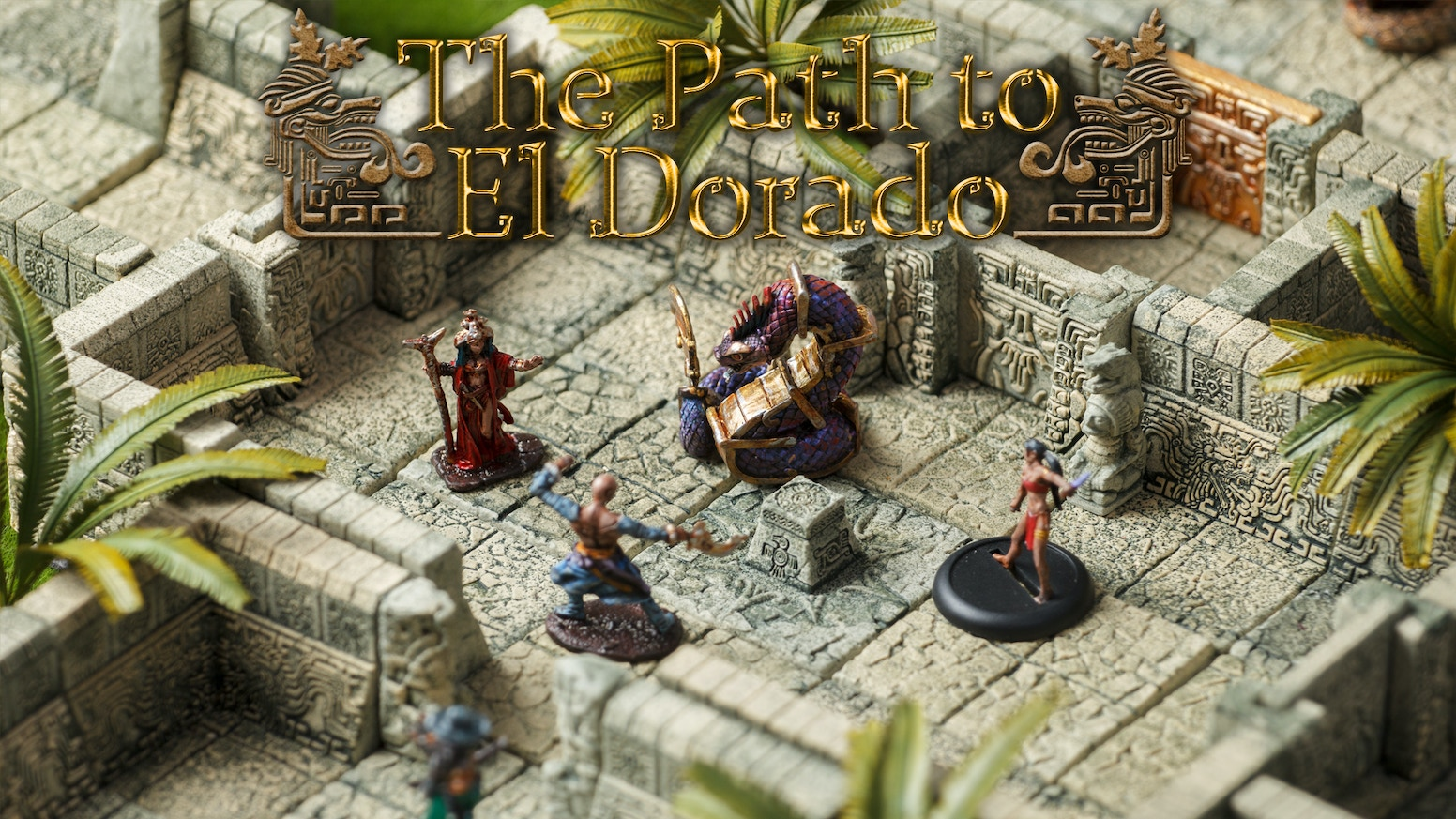 The Path to El Dorado - Aztec terrain tiles, 25mm modular dungeons for tabletop rpgs. Inspired by Aztec ruins and ancient legends. Now available for pre-order !