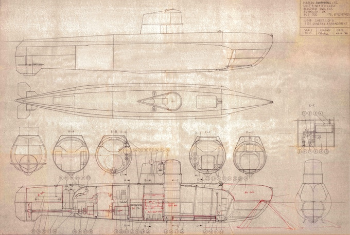 Original 1988 hand-drawn blueprints for the S-101 Marlin Submersible