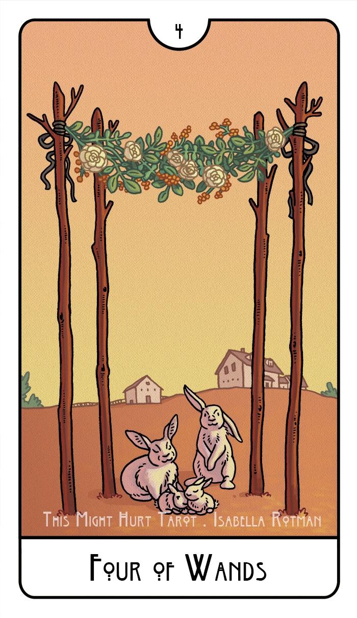 Four of Wands - This Might Hurt Tarot