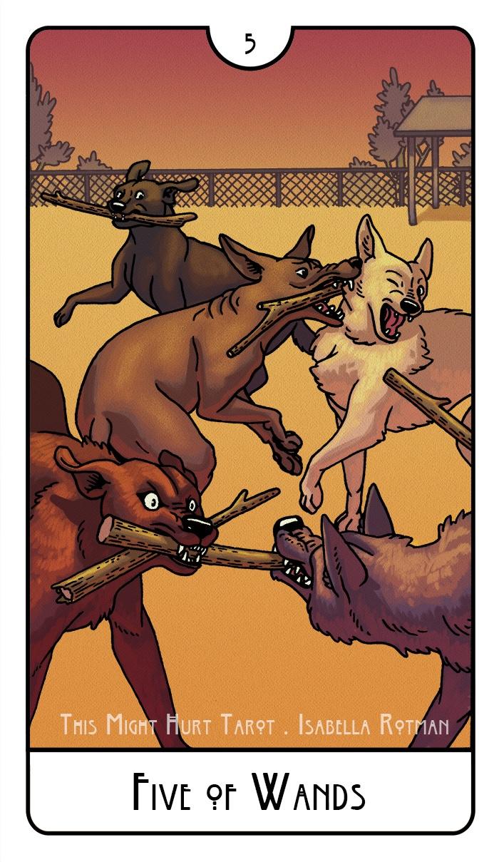 Five of Wands - This Might Hurt Tarot