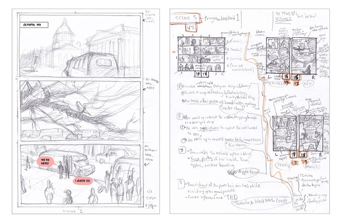 Example work in progress. (Left) Pencil work for the page illustrating Cricket and Jenna arriving for camp at the State Capitol in Olympia. (Right) Storyboards and notes for the pages illustrating the teens at home over the weekend.