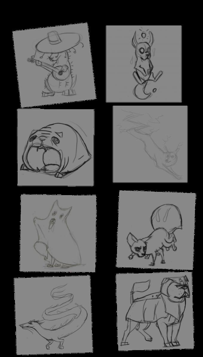 Sample sketches during art development