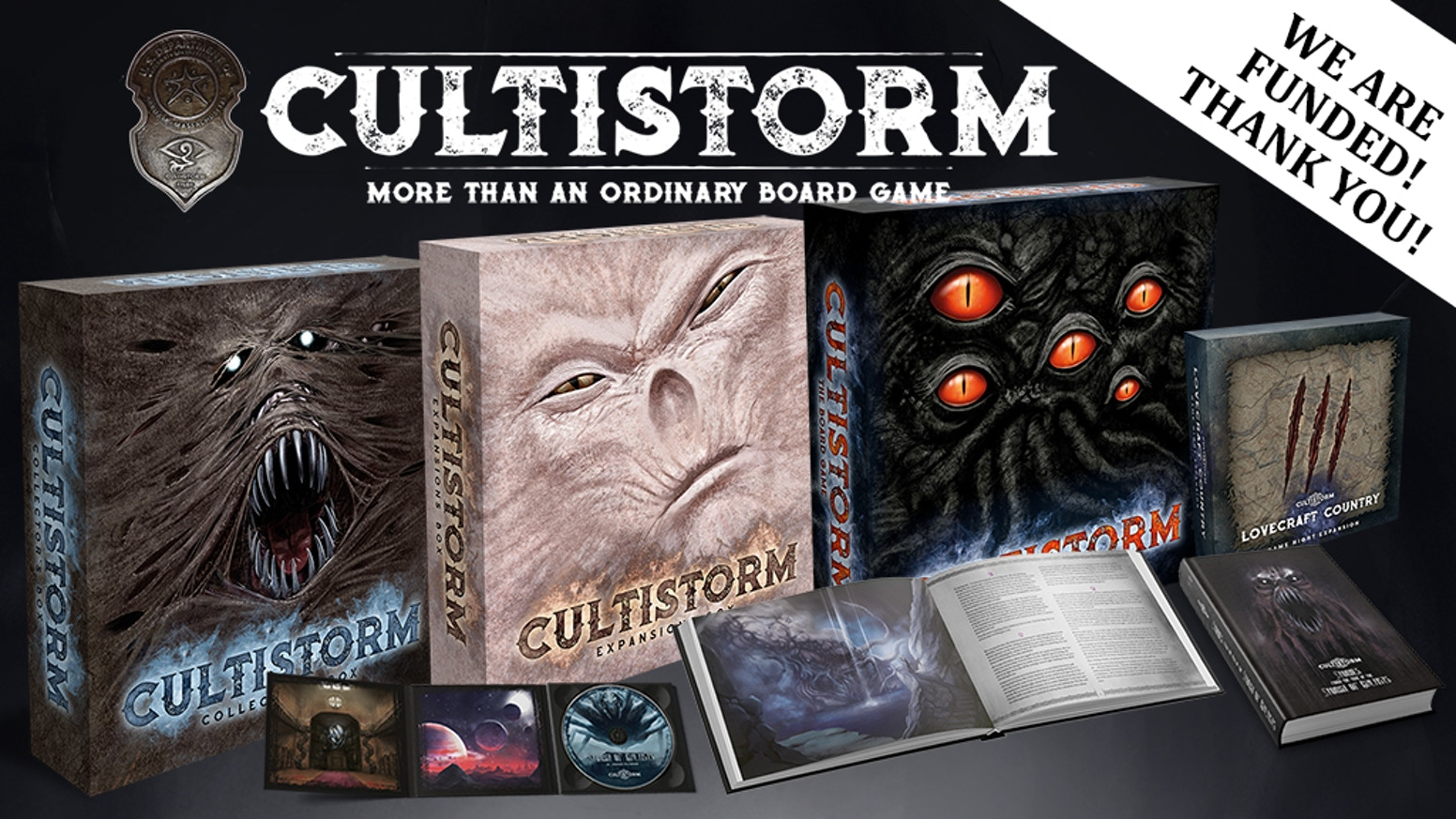 A Lovecraftian gaming experience with 14 expansions, miniatures, 500+ narrative stories, Short Story Collection and soundtrack by Graham Plowman