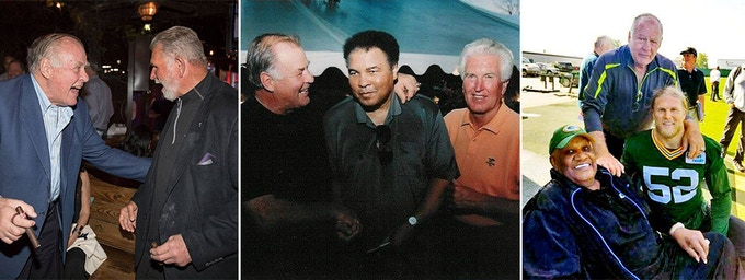 L to R: Jerry with Mike Ditka; with Muhammad Ali (and longtime friend Claude Crabb); and with Clay Matthews and fellow HOF'er Willie Davis