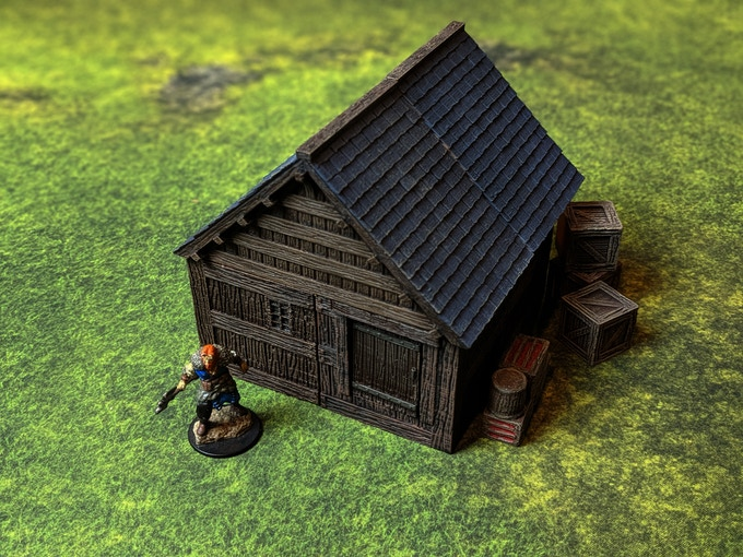 Build simple cabins quickly with one four corners and 2 roof ends.