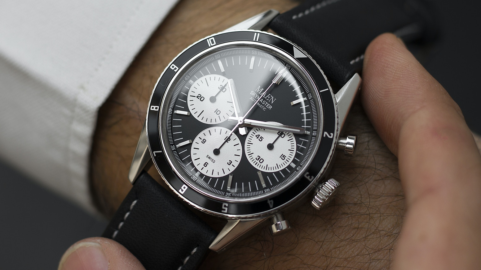The Skymaster 38 is an affordable vintage styled automatic chronograph