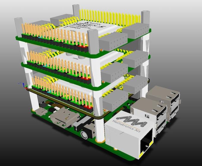 NovaPi NP01 Parallel Bus stack - CAD rendered image