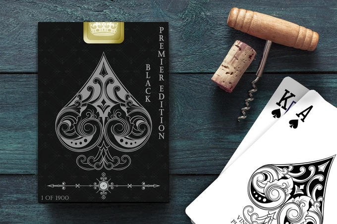Premier Edition Black Deck with Gold Foil Box Seal.  Contains a Premium set of 'Traditionally Pressed' Gold Gilded Playing Cards.  (Deck also contains additional cards for card magic)