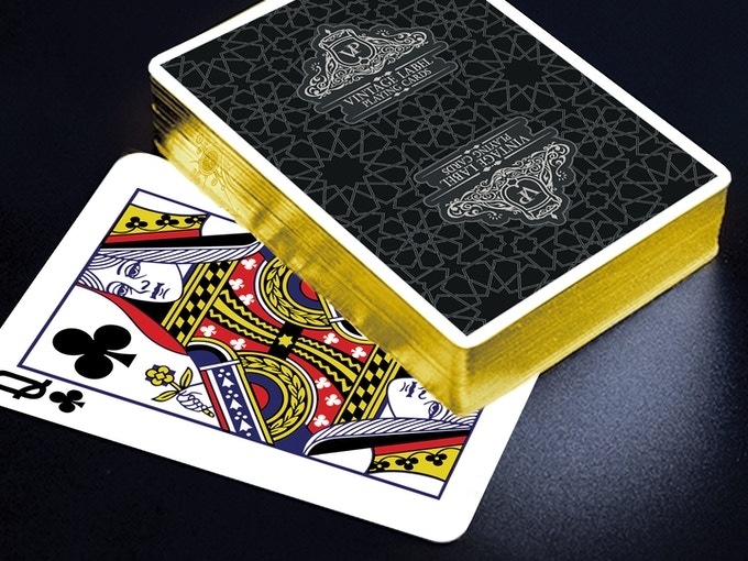 Visualisation of a Premier Edition Black Deck with Gold Gilded Edging.