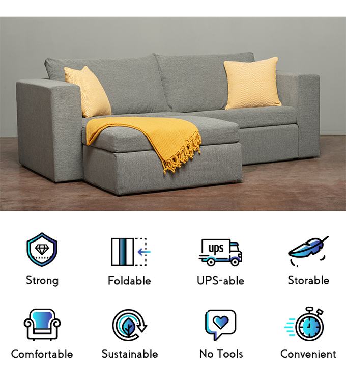 The Strongest Foldable Sofa That Assembles Instantly By Furniture Tech Lab Kickstarter