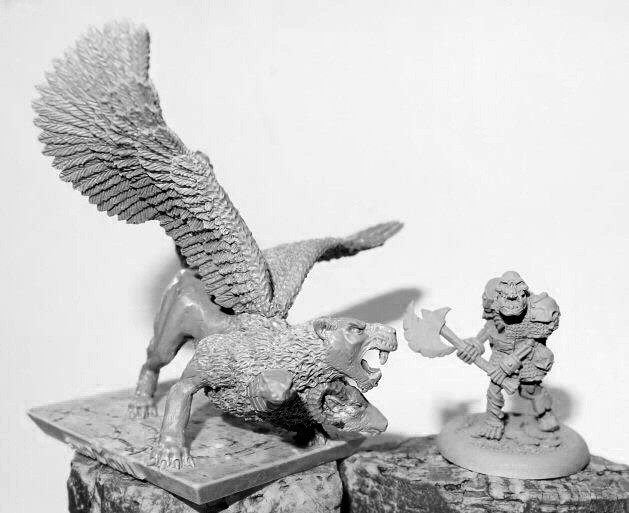 Here we see the Chimera with one of Tims miniatures from his Die Hard Miniatures range
