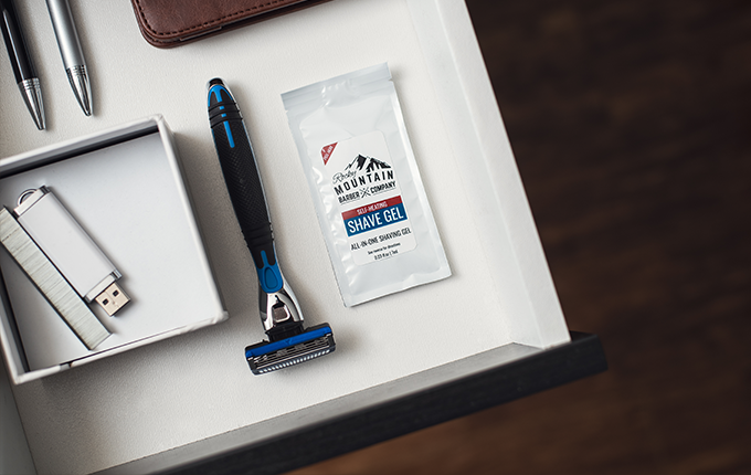 Have a meeting or presentation and notice hairs you missed while shaving? Keep a shave gel at the office for emergency shaves.