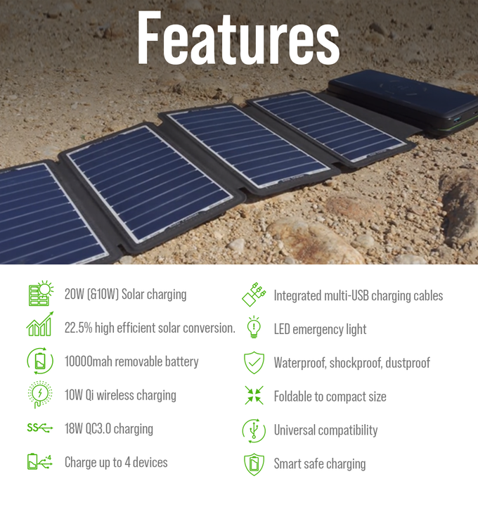SolarBar: Most Efficient Solar Panel + Wireless Charger Set by