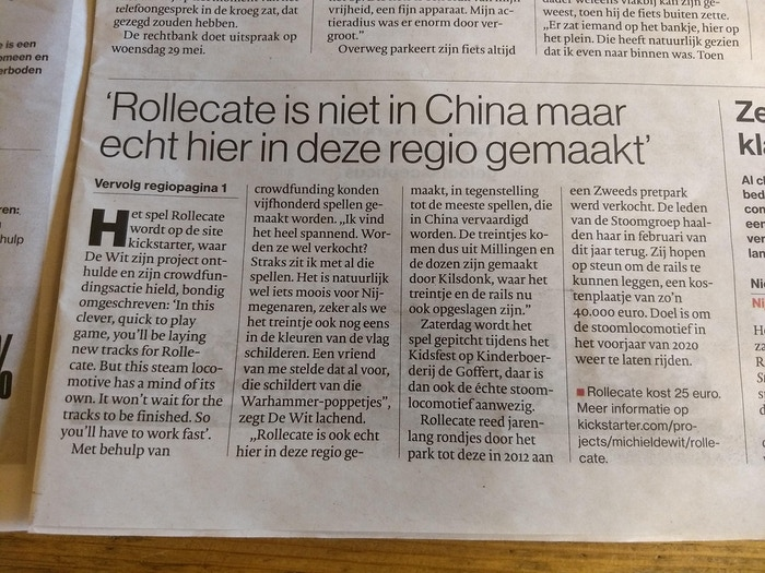 Article in Dutch newspaper
