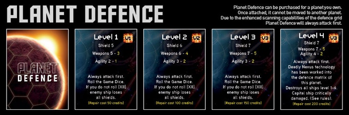 Purchase the Planet Defence cards to protect your planets!