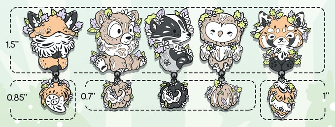"""The bodies for all the pins will be approx. 1.5""""(38mm). The Bear, Badger, Owl and Hare will have 0.7""""(17-18mm) tails, the Red Fox and Otter a 0.85""""(22mm) tail and the Red Panda a 1""""(25mm) tail."""