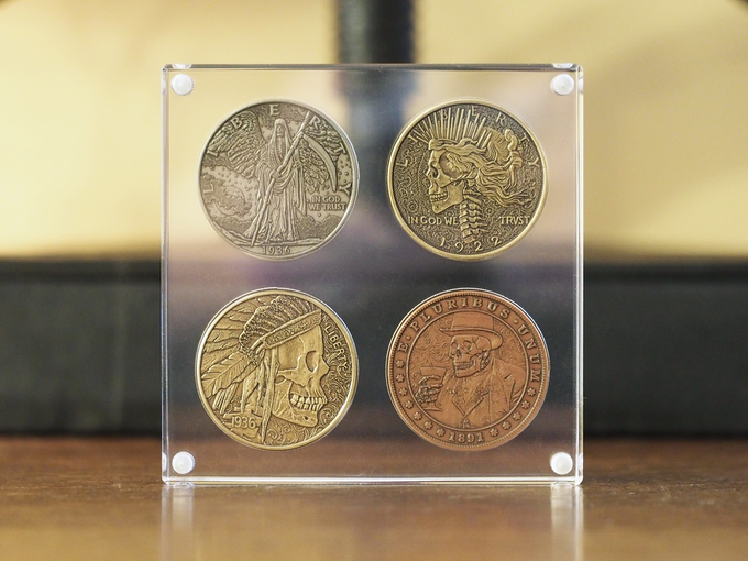 All displays are 3 acrylic panes with embedded corner magnets to hold the coins tight, but easy for you to open and close. Coins shown in images are from the Hobo Coin Series I project.