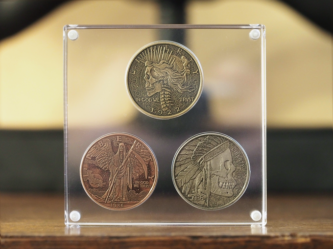 3 Coin Display. Coins shown in images are from the Hobo Coin Series I project.