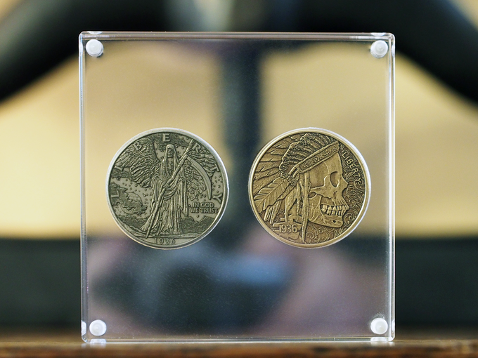 2 Coin Display. Coins shown in images are from the Hobo Coin Series I project.