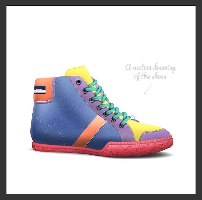 "Rendering drawing of ""The Pride Shoe"""