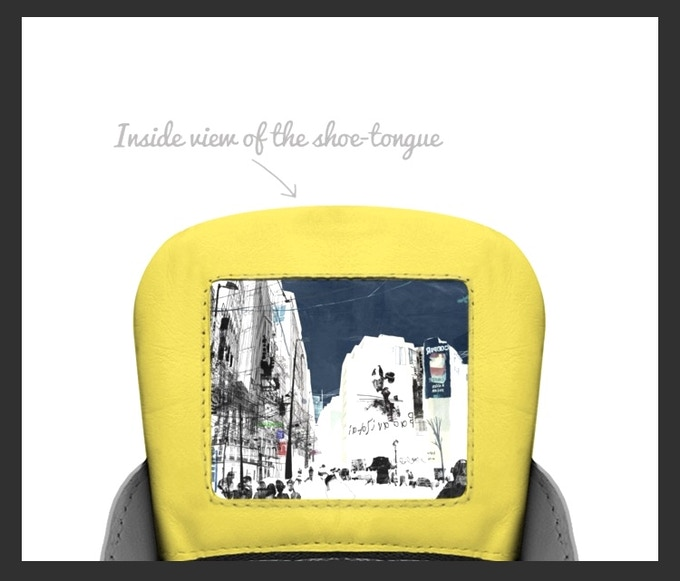 """""""The Pride Shoe"""" inside tongue view of an urban drawing  *as pictured on box"""