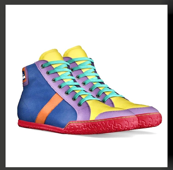 """""""The Pride Shoe"""" front and side view"""