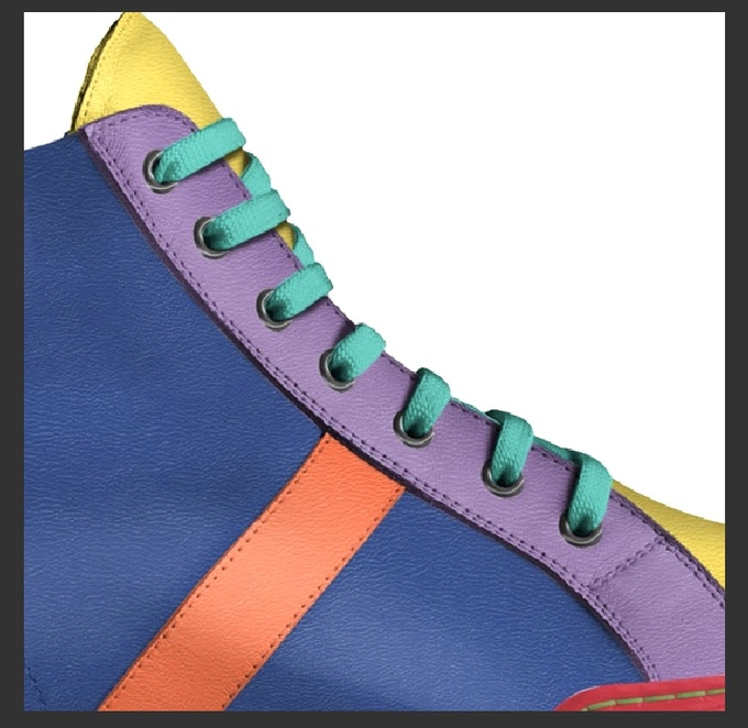 """""""The Pride Shoe"""" side view with shotgun colored eyelets included"""