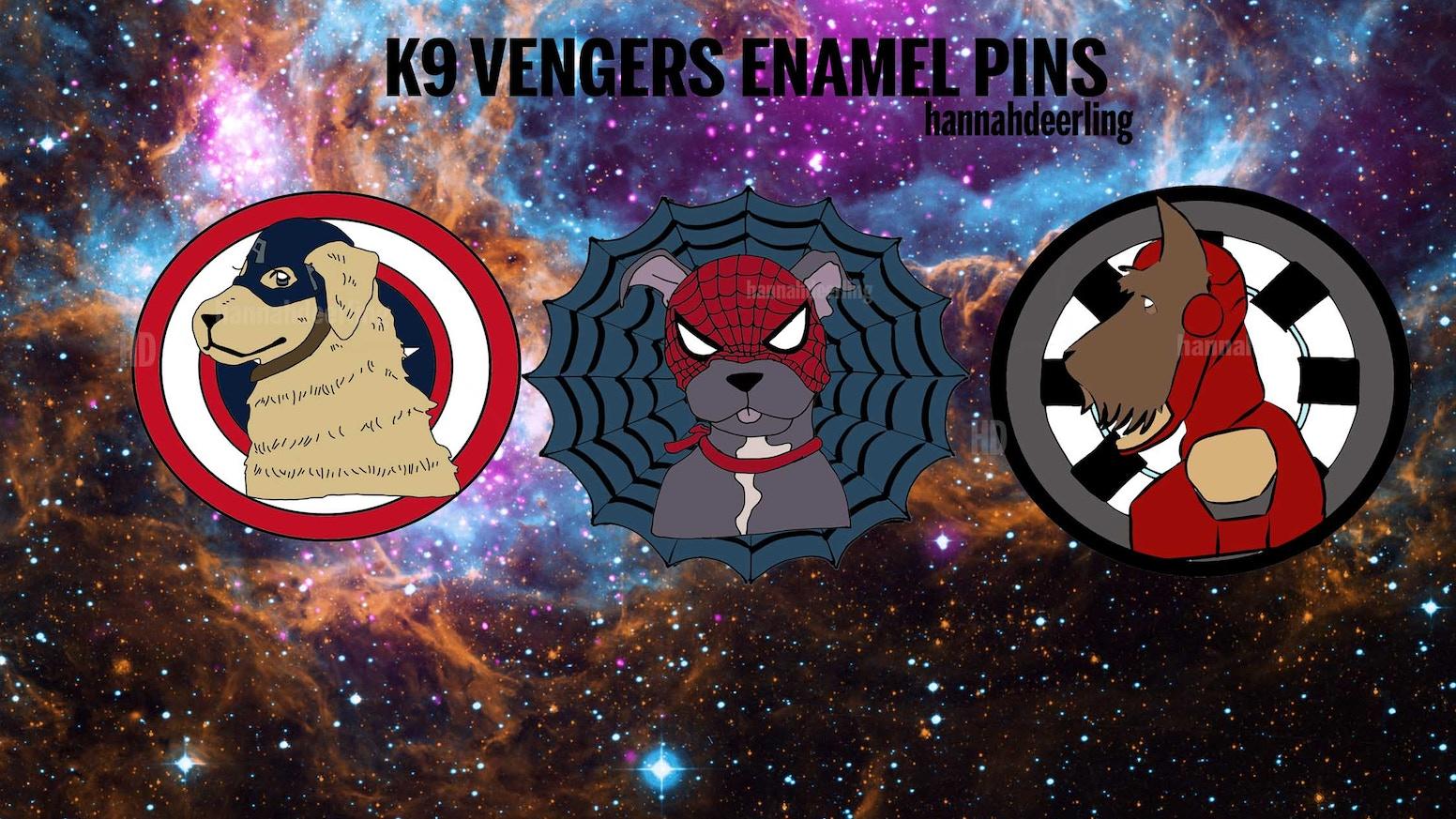 Golden Retriever Cap America, Scottish Terrier Iron Dog, & Pitbull Peter Barker Enamel Pins