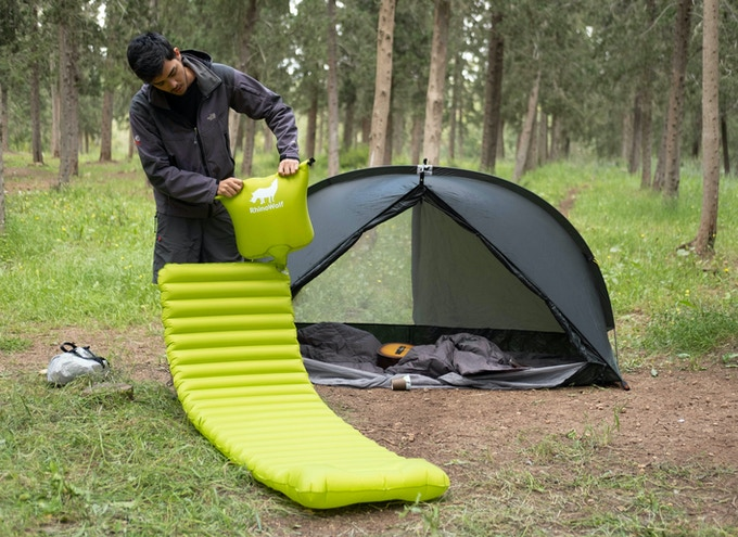 RhinoWolf 2.0 - The all-in-one Attachable Super-Tent Forget tents. RhinoWolf has a built-in mattress and sleeping bag and connects to other RhinoWolfs.