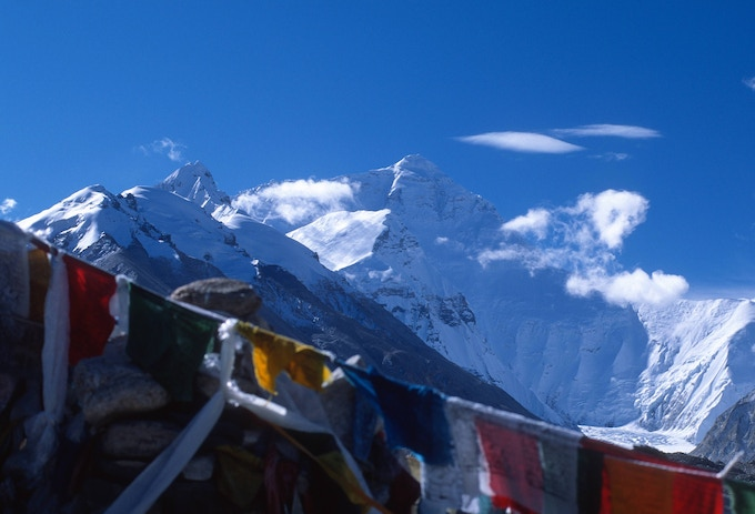 MT. EVEREST WITH PRAYER FLAGS