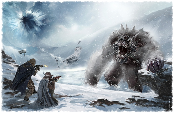 Explorers facing a fearsome Frostbiter within the Breach Zone known as The Ice Plain