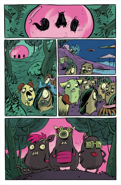 An interior page from CLONSTERS: SPACE NUGGETS by incredible series artist, Vanessa Cardinali!