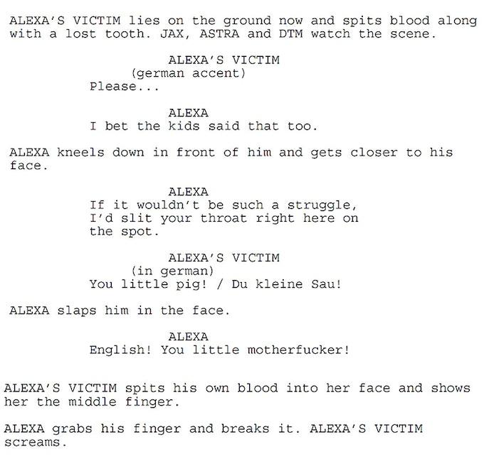A page from our screenplay / Eine Seite aus unserem Drehbuch!