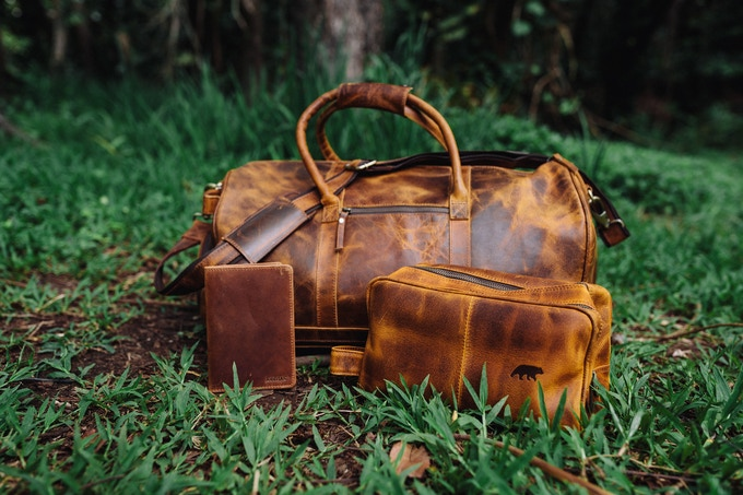 Denali Traveler's Set - Shown in Antique Brown - Front of Bag