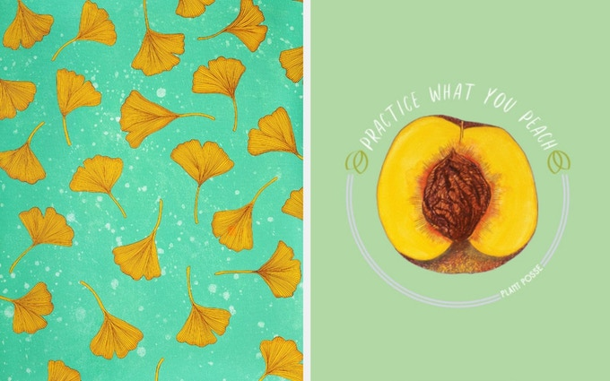 """Gingko"" Eco-Print // ""Practice What You Peach"" Eco-Print"