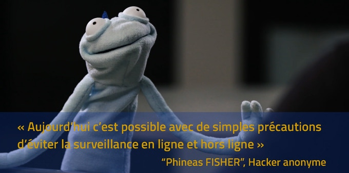 Phineas Fisher lors de son unique apparition publique (Vice).