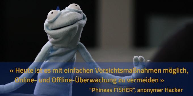 Phineas Fisher bei seinem einzigen öffentlichen Auftritt (Vice).